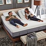 "Blissful Nights - Split Head Flex Top King Size Adjustable Bed Frame Set with 12"" Copper Gel Infused Memory Foam Mattress Med"