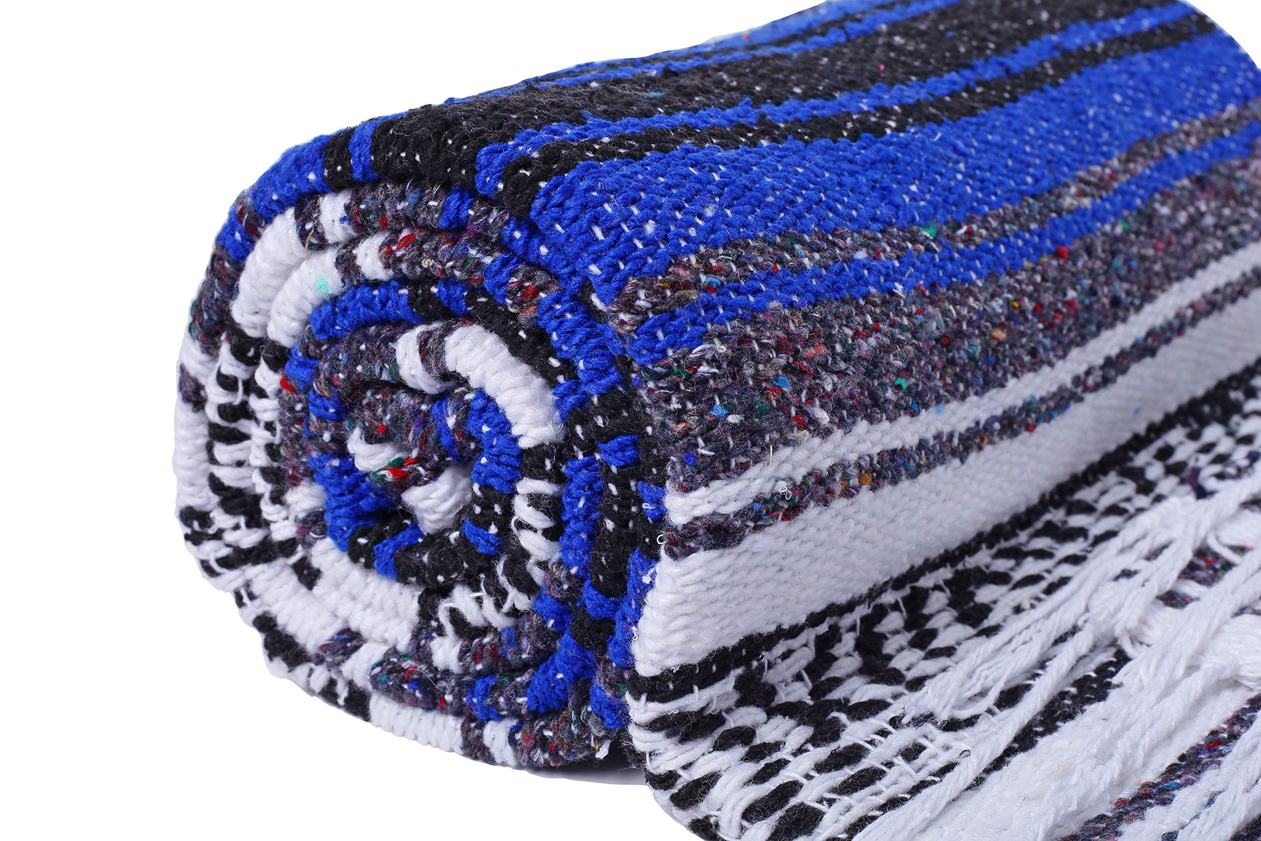 El Paso Designs Genuine Mexican Falsa Blanket - Yoga Studio Blanket, Colorful, Soft Woven Serape Imported from Mexico (Blue) by El Paso Designs (Image #6)