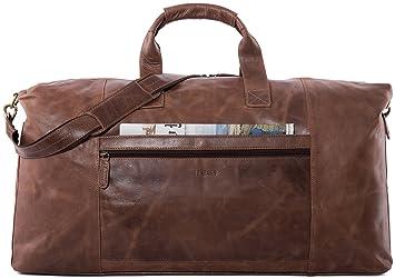 LEABAGS Dubai sac de voyage rétro-vintage en véritable cuir de buffle - Noix de muscade VPIo8L8