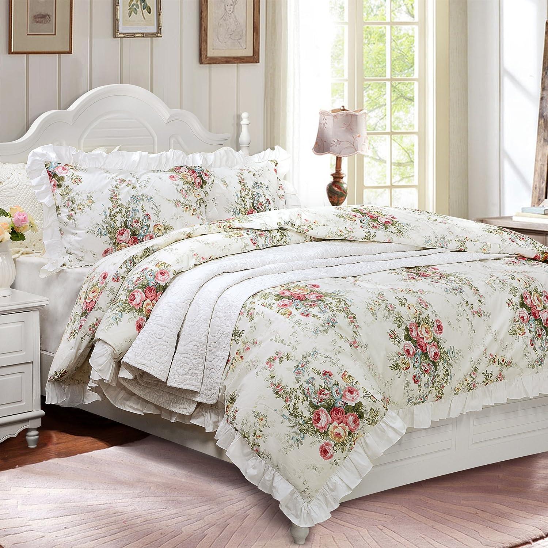 FADFAY Vintage Rose Floral 100% Cotton Soft Duvet Cover Set White  Reversible,Twin XL Size 3-Pieces
