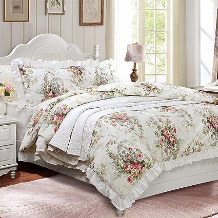 Amazon.com: FADFAY Vintage Rose Floral 100% Cotton Soft Duvet Cover ...
