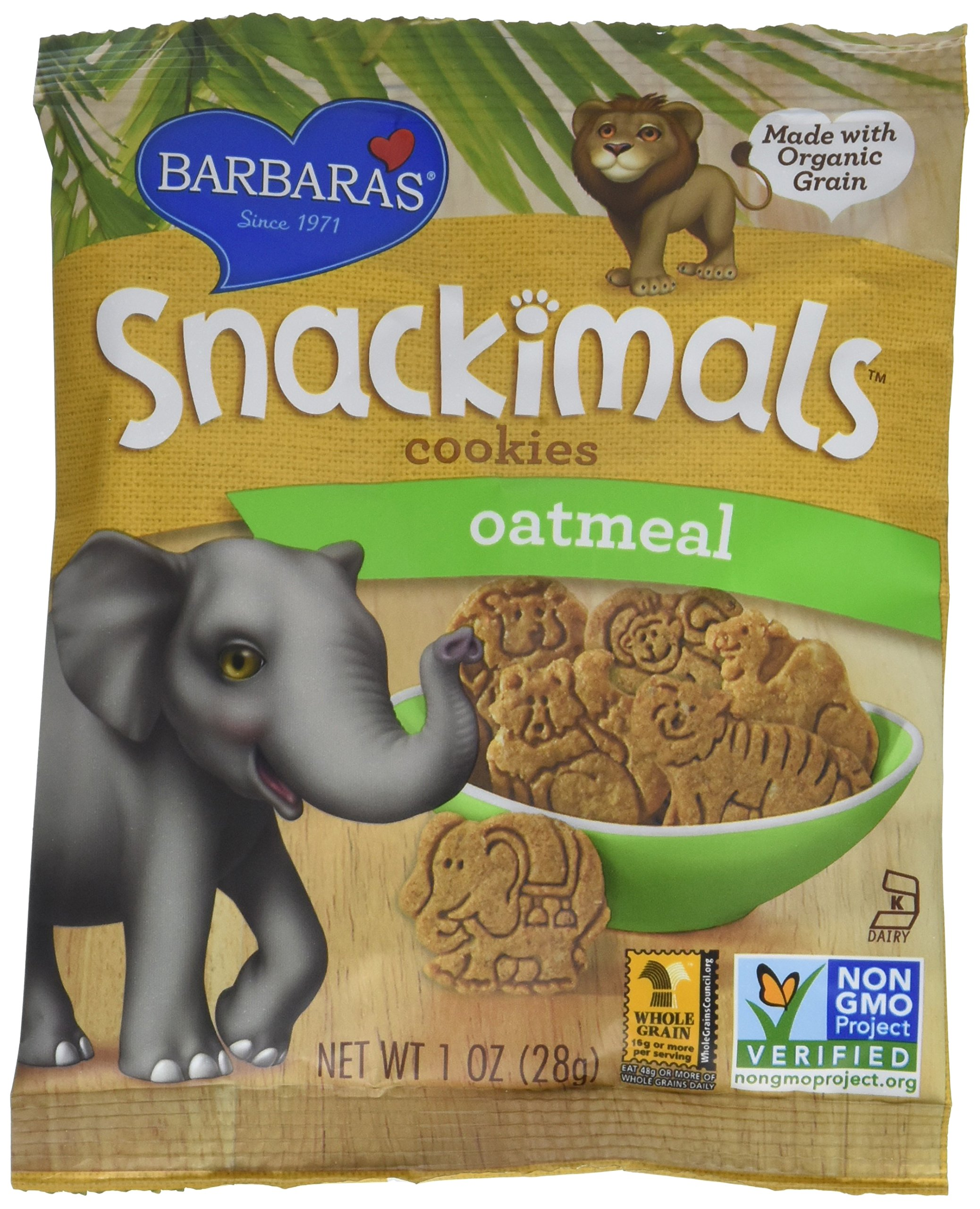 Barbara's Bakery Organic Oatmeal Snackimals - 1 oz - 6 pk