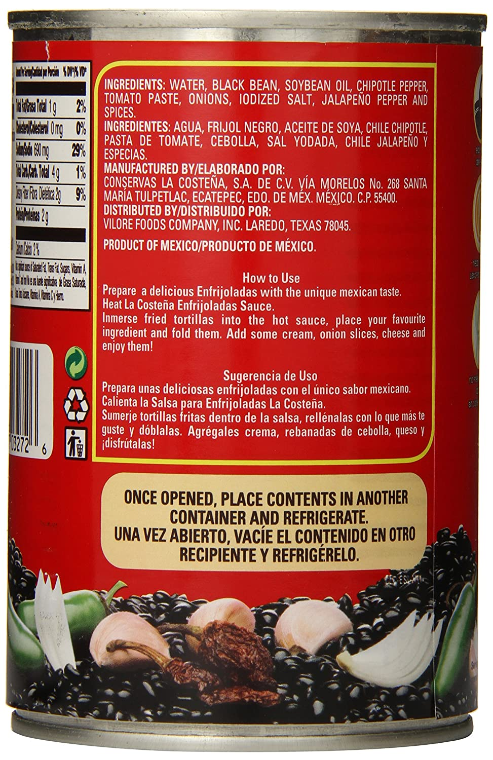 Amazon.com: La Costena Salsa/Enfrijolada Negros Black, 14.8 Ounce (Pack of 12)