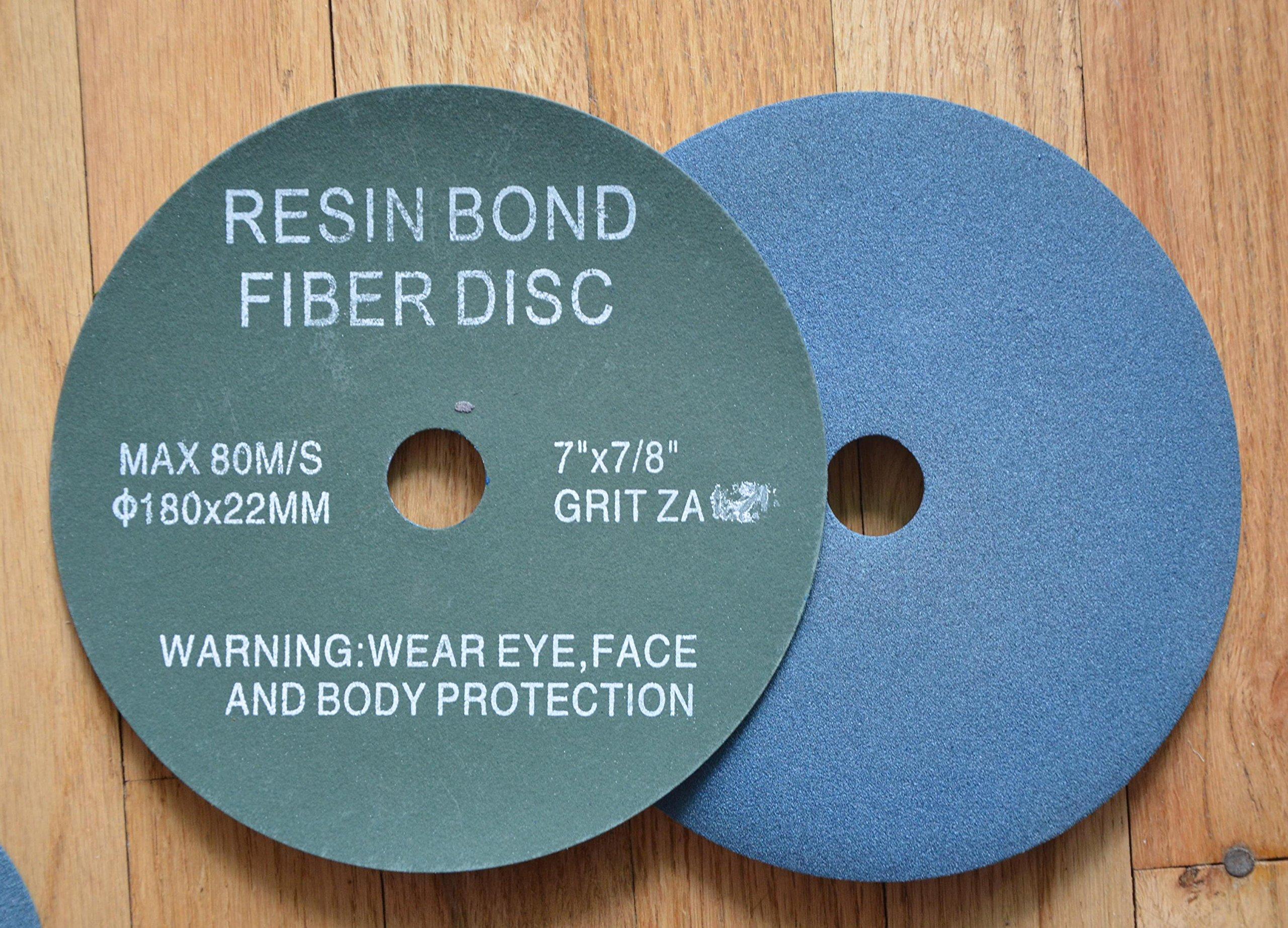 7'' RESIN FIBER SANDING DISC Zirconia 80 Grit Discs / 25 Pack