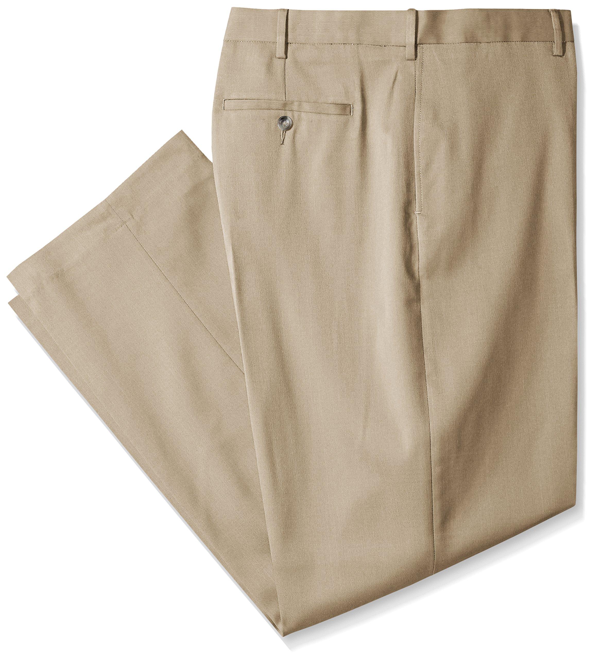 Savane Men's Big and Tall Flat Front Stretch Crosshatch Dress Pant, Flax, 52W x 30L