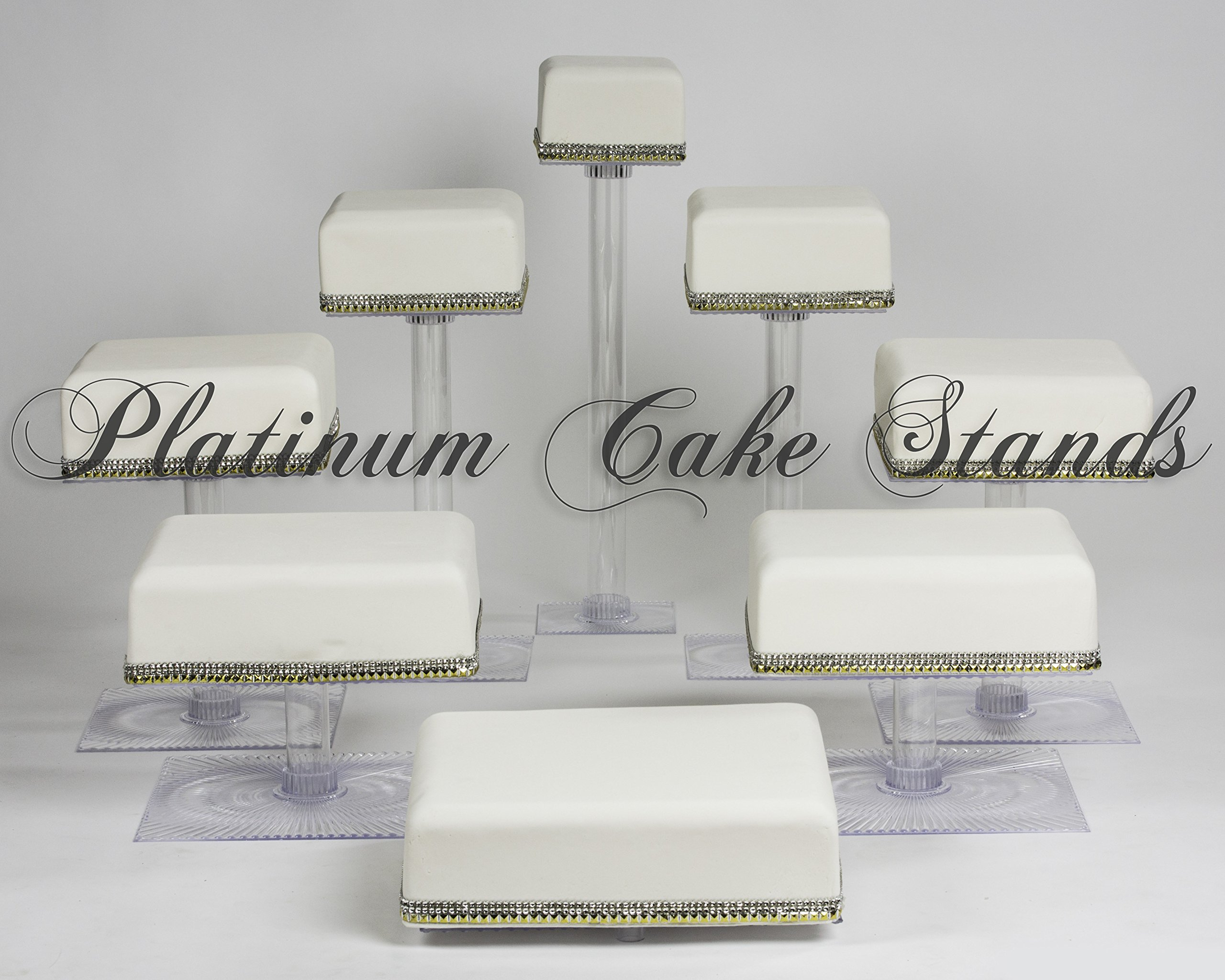 8 TIER CASCADE WEDDING CAKE CUPCAKE STAND SQUARE (STYLE SQ845) by platinumcakeware (Image #1)