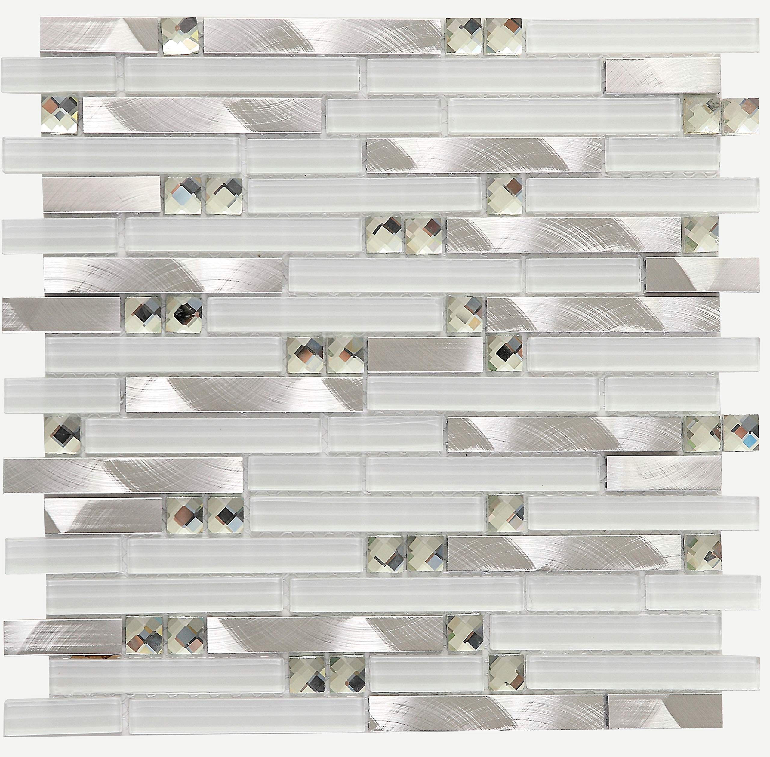 White Glass Metal Mosaic Tile for Wall, Mosaic Tiles,LSGM02 (12''X12''-5PCS-5.38SF)