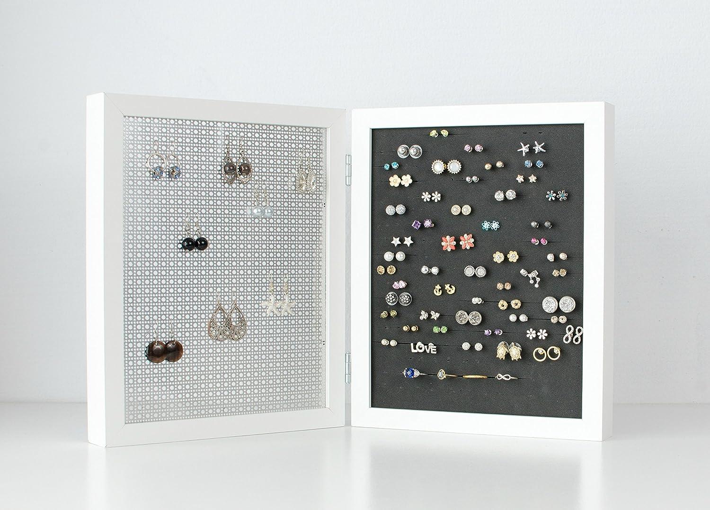 White Frame Jewelry Organizer - 8x10 Frame Size - Earring Organizer