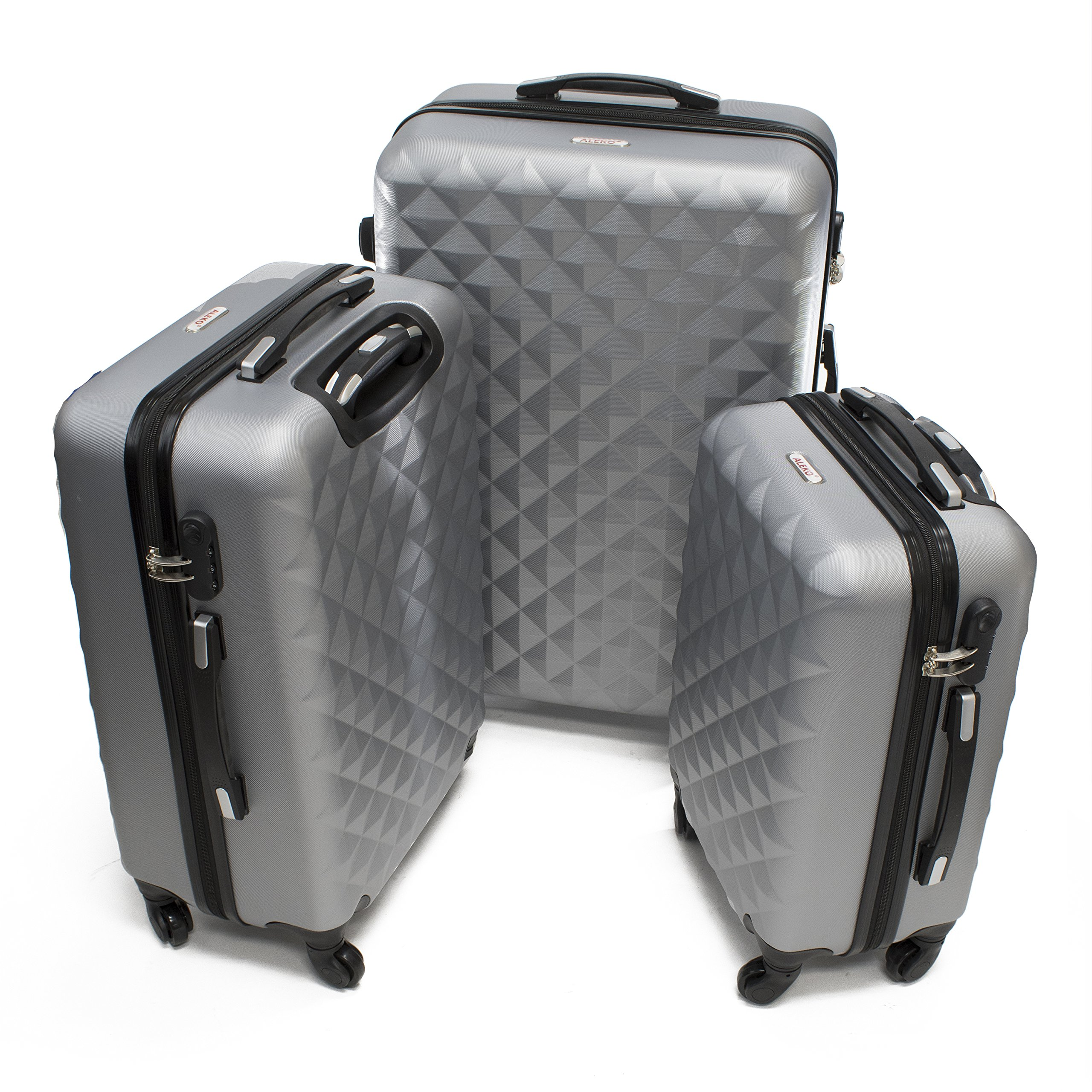 a30451322394 Details about ALEKO LG52SL ABS Suitcase Set Luggage Travel with Lock, 3  Piece, Diamond