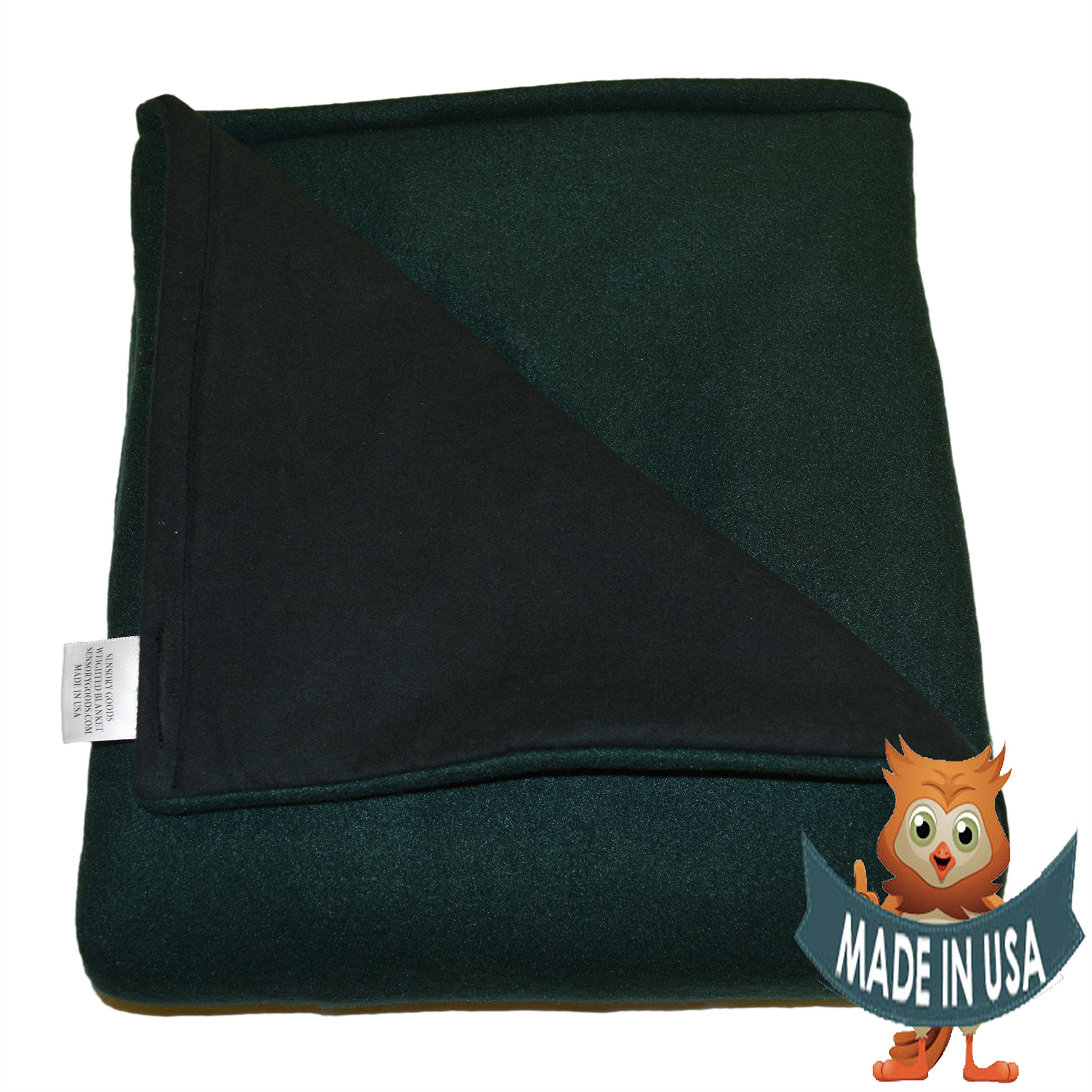 Adult Large Weighted Blanket by Sensory Goods 15lb Medium Pressure - Forest Green - Fleece/Flannel (42'' x 72'')