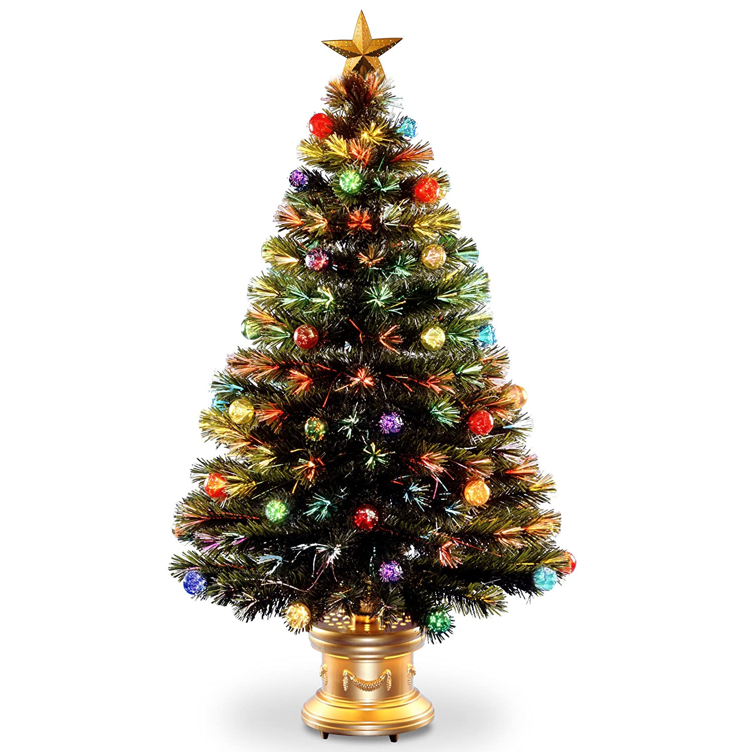 15ac5273b856 Amazon.com: National Tree 48 Inch Fiber Optic Ornament Fireworks Tree with  Gold Top Star and Multicolored Lights in Gold Base (SZOX7-100L-48): Home &  ...