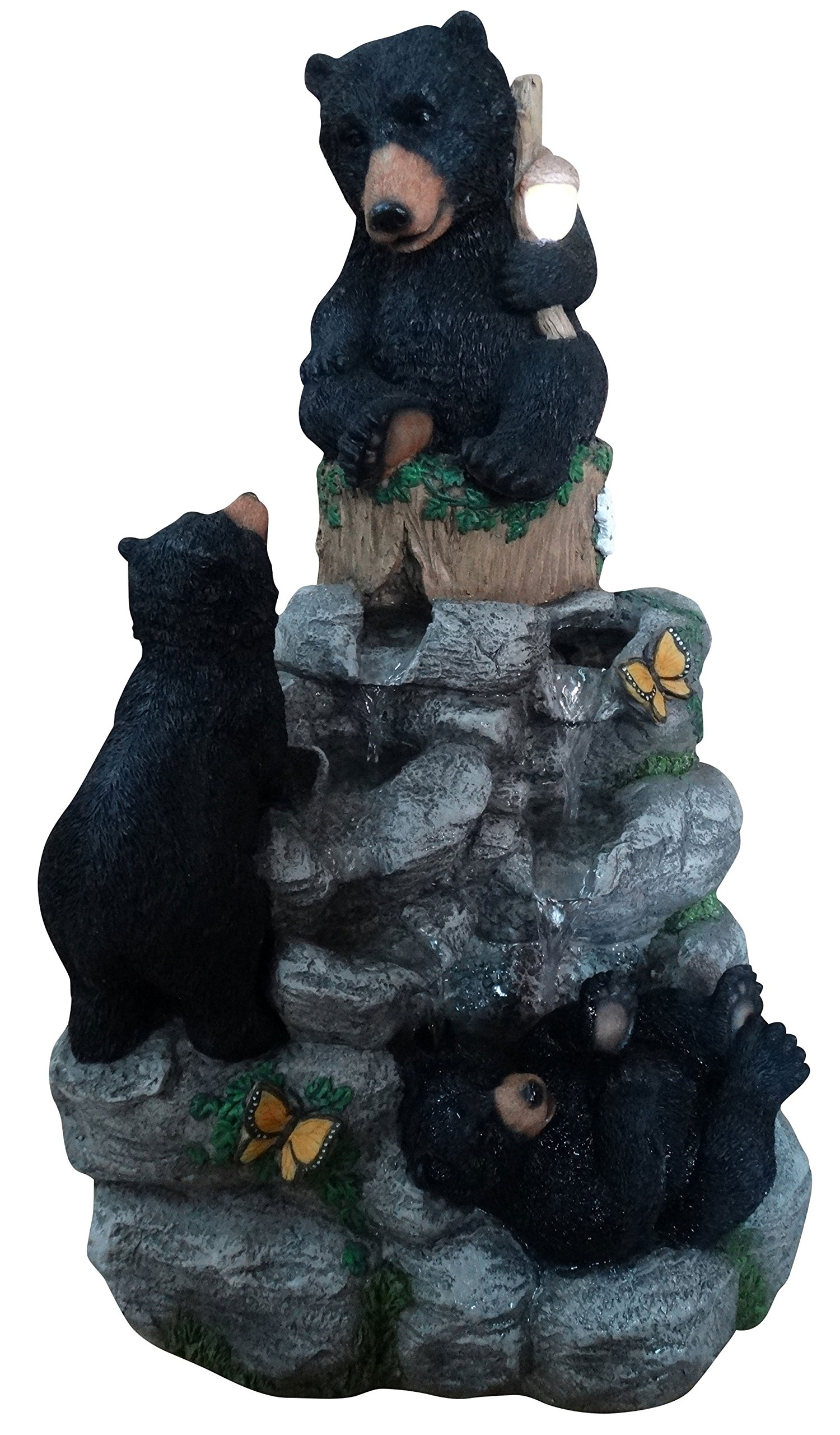 Alpine Corporation Black Bears Climbing Fountain with LED Light