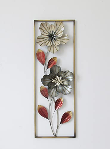 New All American Collection Flower and Leaves Aluminum Metal Wall Decor with Frame 12 x36 Beige and Grey Flowers