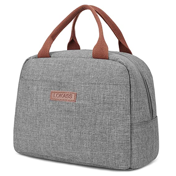 Lokass Lunch Bag Cooler Bag Women Tote Bag Insulated Lunch Box Water Resistant Thermal Lunch Bag Soft Liner Lunch Bags For Women/Picnic/Boating/Beach/Fishing/Work (Grey) by Lokass