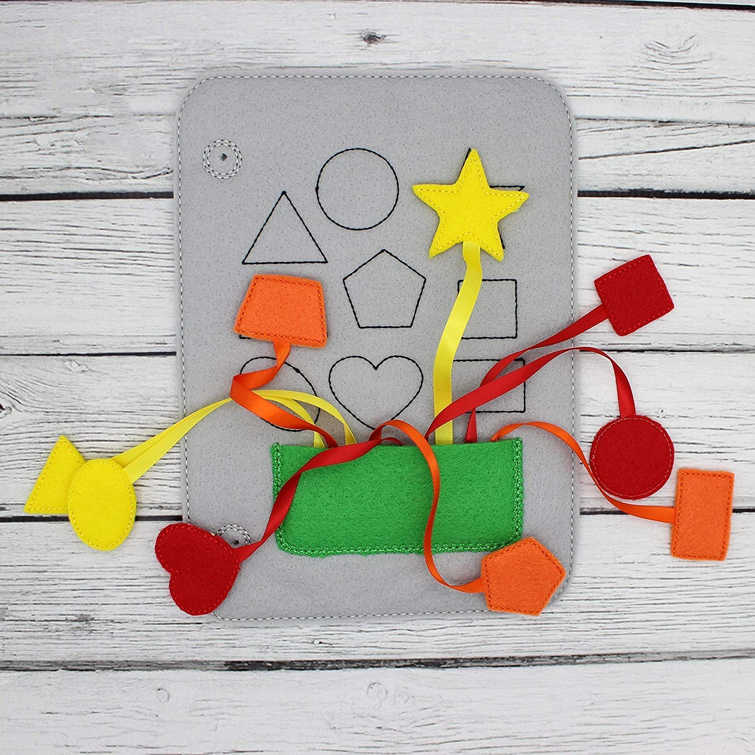 Busy Toddler Educational Learning Toy Shape With Ribbons Matching Felt Quiet Book Page