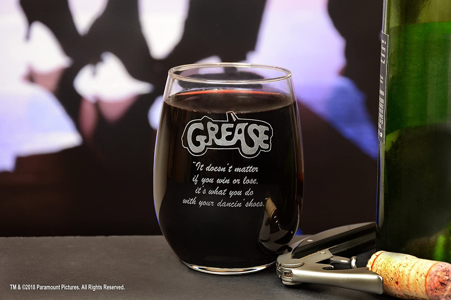 Premium Etched Grease Movie Musical With Quote,It doesnt matter if you win or lose Engraved Logo Stemless Wine Glass Movies On Glass its what you do with your dancin shoes