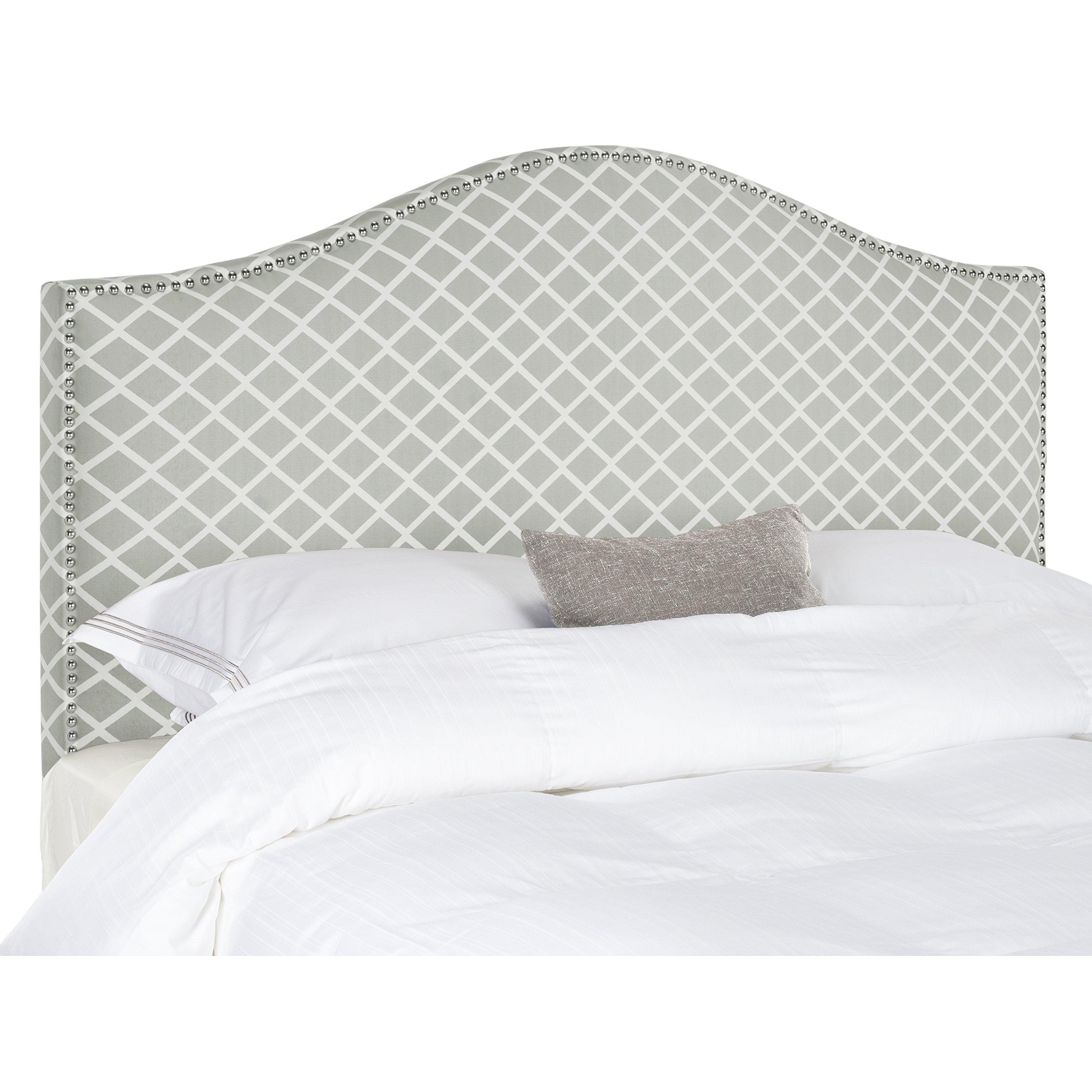 Safavieh Connie Grey/ White Camelback Upholstered Headboard - Silver Nailhead (King) by Safavieh