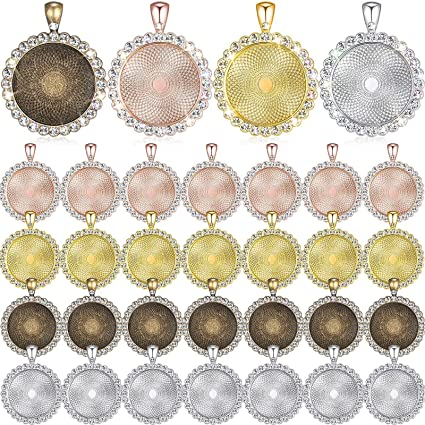 32 Pieces 25 mm Rhinestone Bezel Pendant Trays Blanks Cabochon Pendant Setting DIY Trays for Crafts Jewelry Making Projects Silver