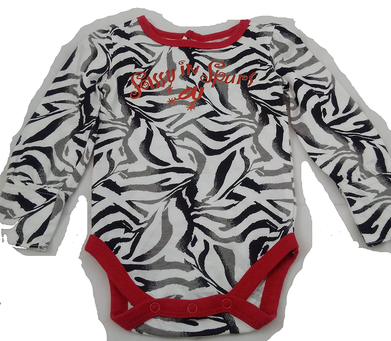 all round Baby by Wrangler long sleeve onesie Zebra stripe Sassy in spursPQK811M 0-3 MONTHS