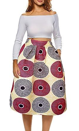 803dce6c735e00 Amazon.com: Afibi African Print Skirts for Women Boho Plus Size Flare Pleated  Skirts: Clothing