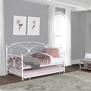 Hillsdale Anslee Whimsical Scroll Metal Complete Twin Daybed with Trundle, White
