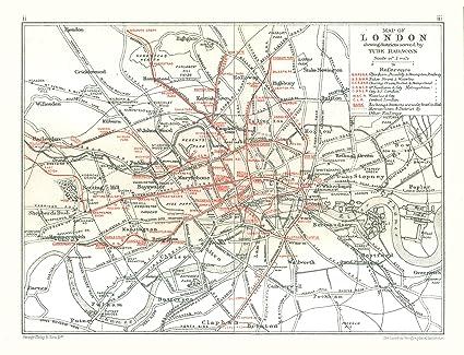 London Great Britain Map.Amazon Com Old Great Britain Map London Tube Railways Philips