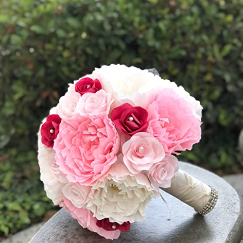 Amazon Com Bridal Bouquet In Crepe Paper Peonies And Filter Paper