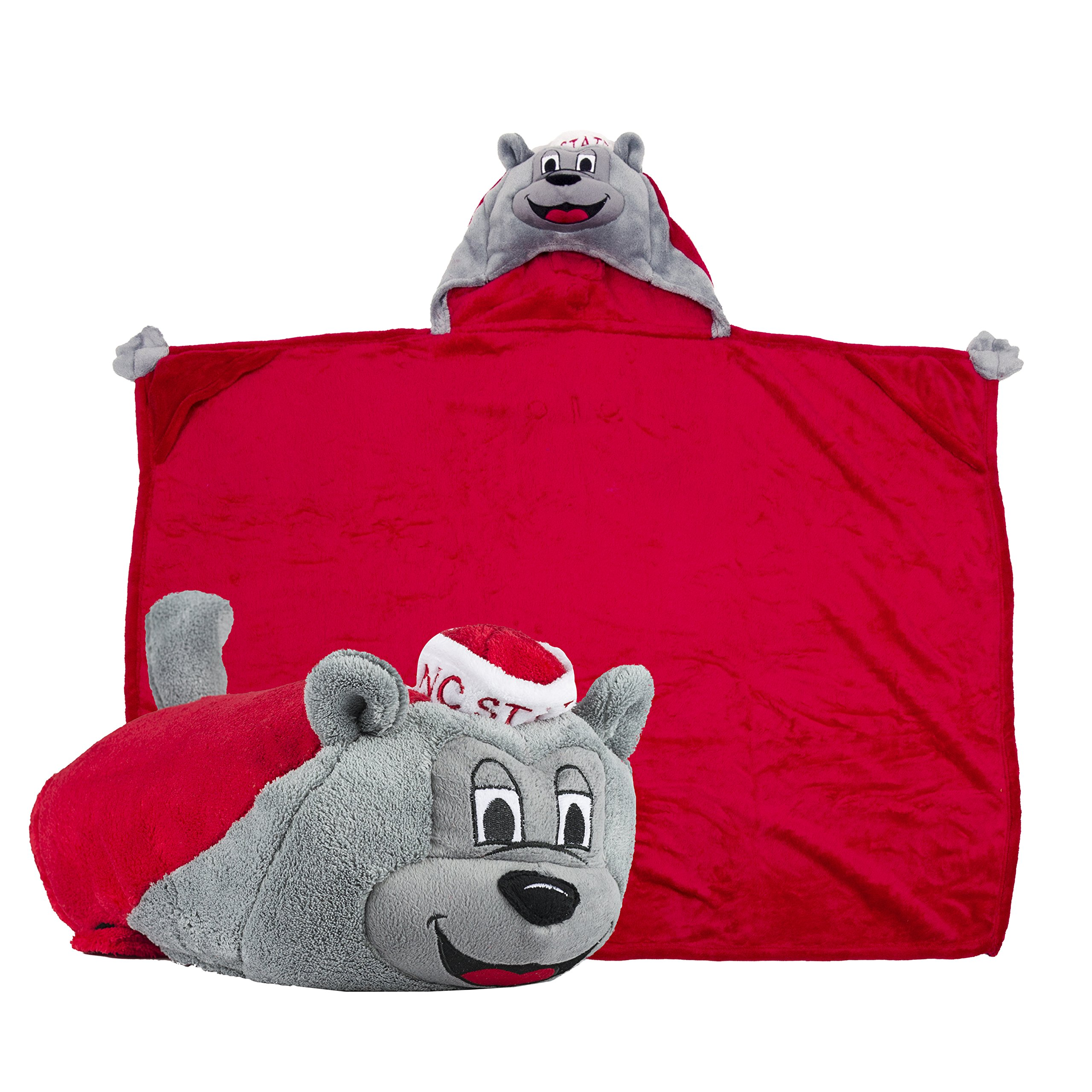 Comfy Critters Stuffed Animal Blanket – College Mascot, NC State University 'Mr. Wuf' – Kids huggable pillow and blanket perfect for the big game, tailgating, pretend play, travel, and much more