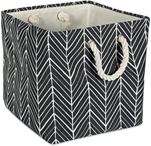 "DII Collapsible Polyester Storage Basket or Bin with Durable Cotton Handles, Home Organizer Solution for Office, Bedroom, Closet, Toys, & Laundry (11x11x11"") - Black Herringbone"