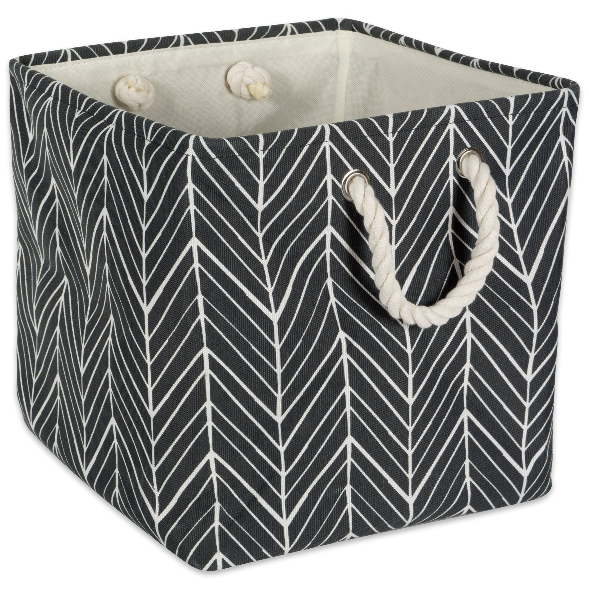 DII Collapsible Polyester Storage Basket or Bin with Durable Cotton Handles, Home Organizer Solution for Office, Bedroom, Closet, Toys, & Laundry (11x11x11'') - Black Herringbone