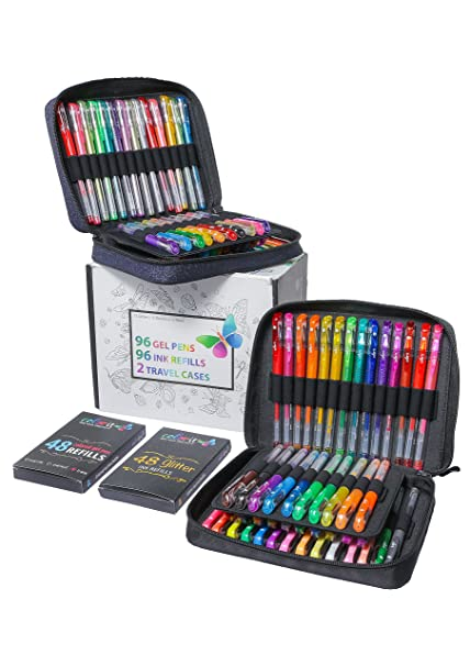 colorit 96 gel pens for adult coloring books 2 travel case gel pen sets with - Adult Coloring Books 2