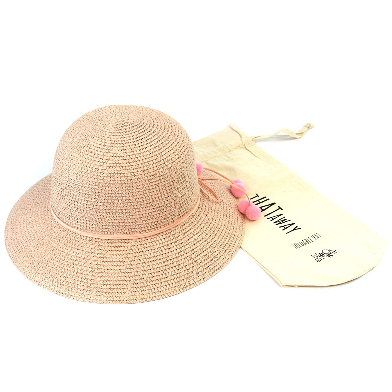 Black Ginger Folding Sun Hat with Pompom Decorations. Straw Hat That can be Folded into its Travel Bag. Ladies. Adjustable Size.