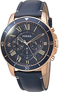 Fossil Mens 44mm Grant Sport Chronograph Watch with Leather Strap