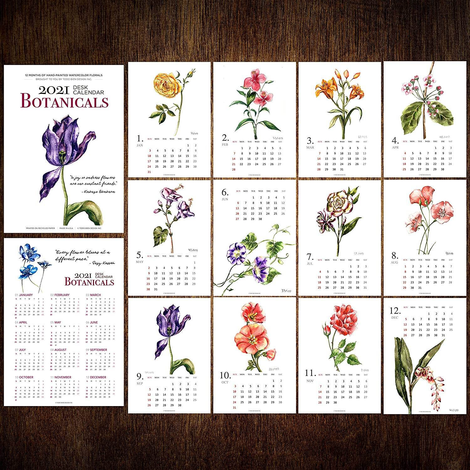 2021 Desk Calendar 5x7 with Wooden Display Easel Stand: Watercolor Art Flower Floral Botanical Nature Theme Home Office Décor (2021-Florals, Refill Pages Only)
