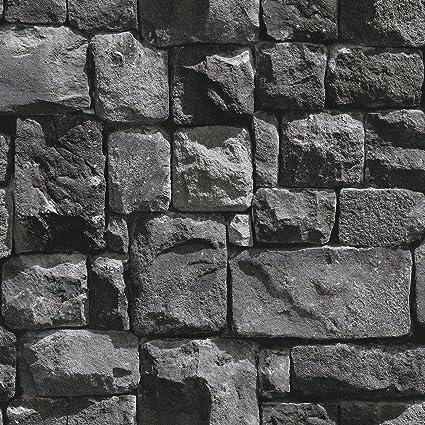 Birwall 2015 Faux Stone Textured Wallpaper Roll 3d Brick Blocks Home Decoration 20 8 X 393 7 Dark Gray