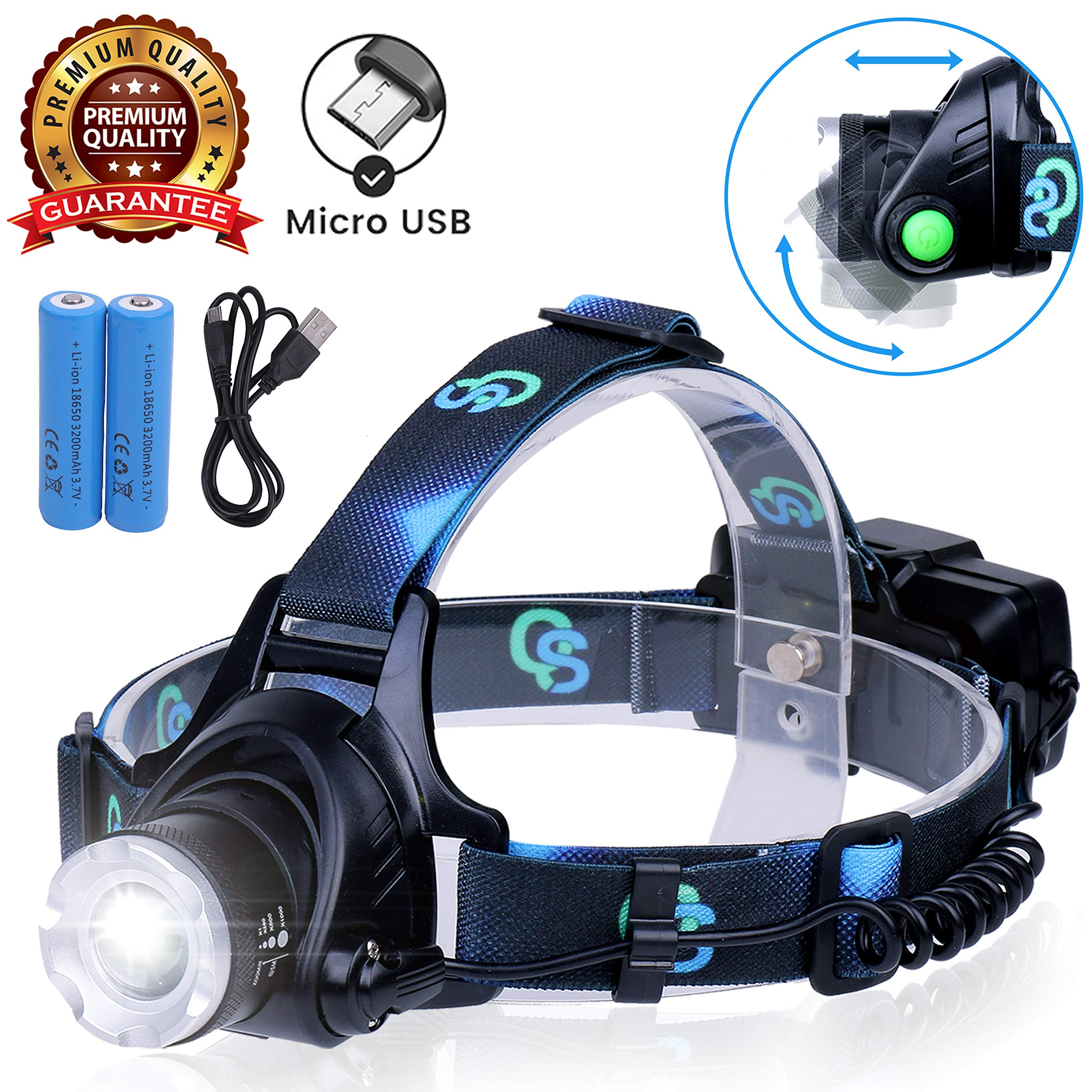 Rechargeable Headlamp, Hard Hat Light - Adults LED Headlamp Flashlight, Perfect Headlamps for Camping, Head Lamps for Adults, Head Flashlight, Lamparas Recargables. by QS USA