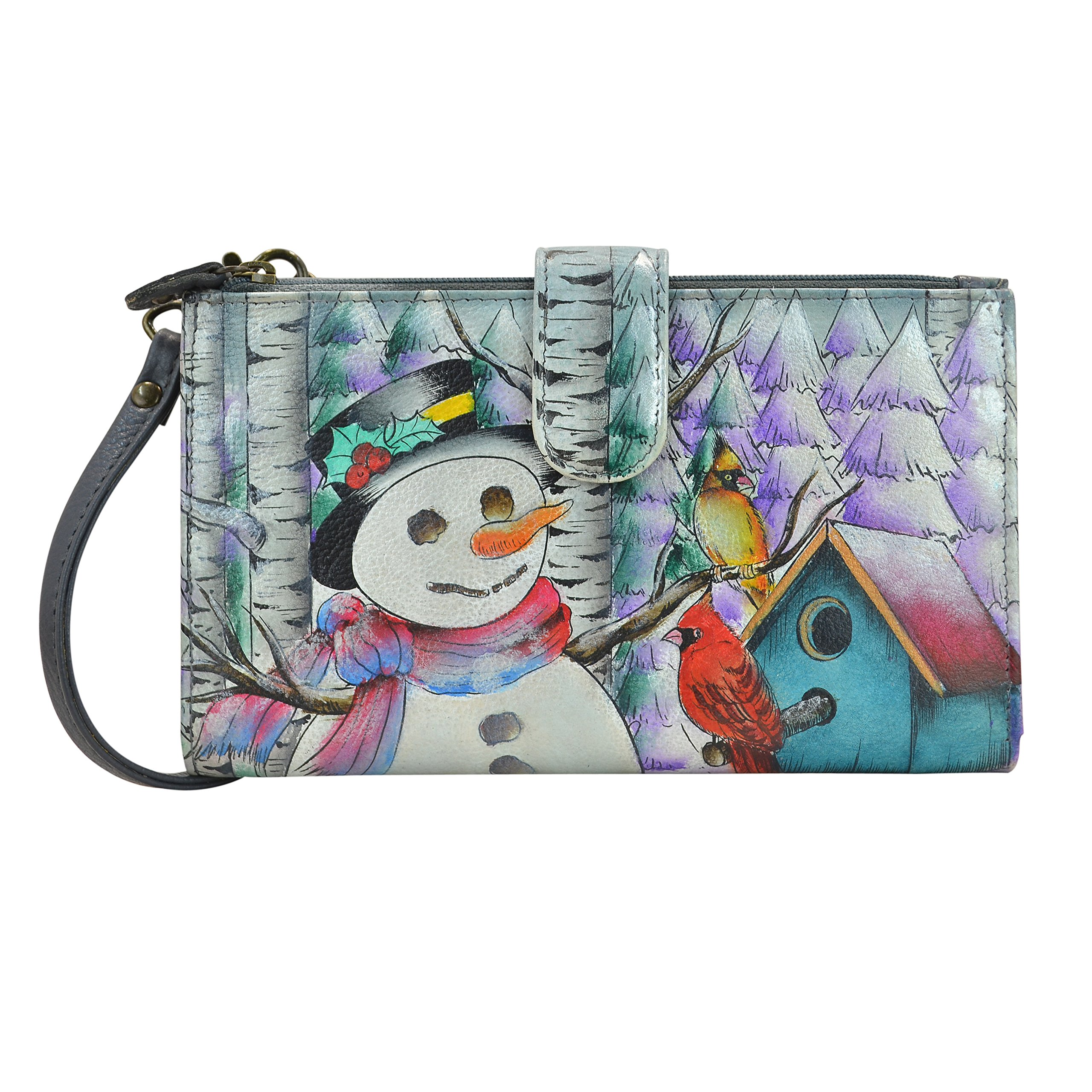 Anuschka Hand Painted Leather Large Smartphone Case & Wallet (1113 Happy Snowman) by Anna by Anuschka