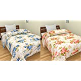 SS Sales Blue & Pink Bunch Flower Prints Reversible Single Bed AC Blanket \ Dohar Combo Set of 2 Pc