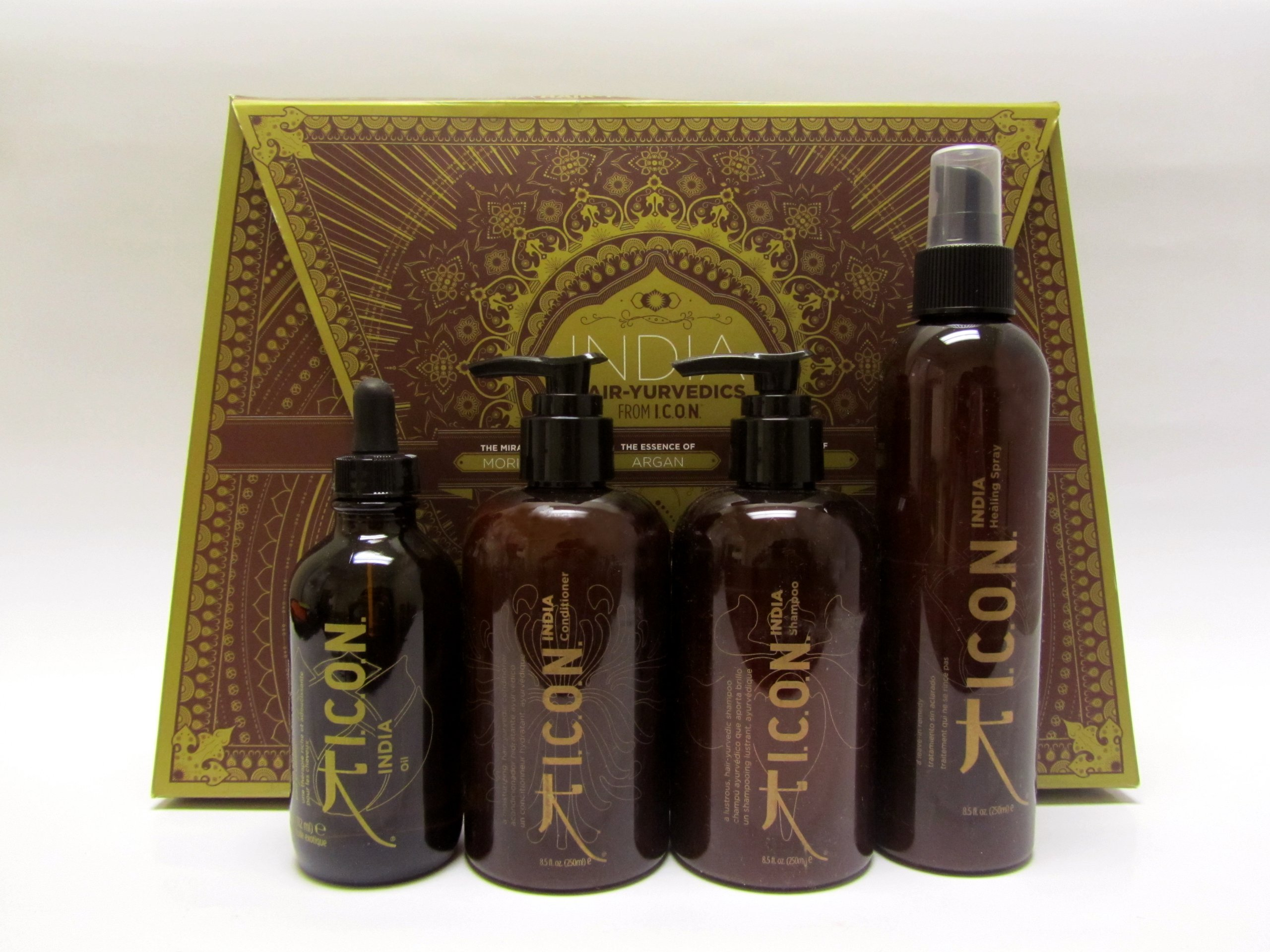 ICON INDIA Hair Care Four Set(India Oil, Shampoo, Conditioner, Healing Spray)