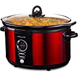 Andrew James 5 Litre Premium Digital Red Slow Cooker with Tempered Glass Lid, Removable Ceramic Inner Bowl And Three Temperature Settings, Includes 2 Year Manufacturer's Warranty