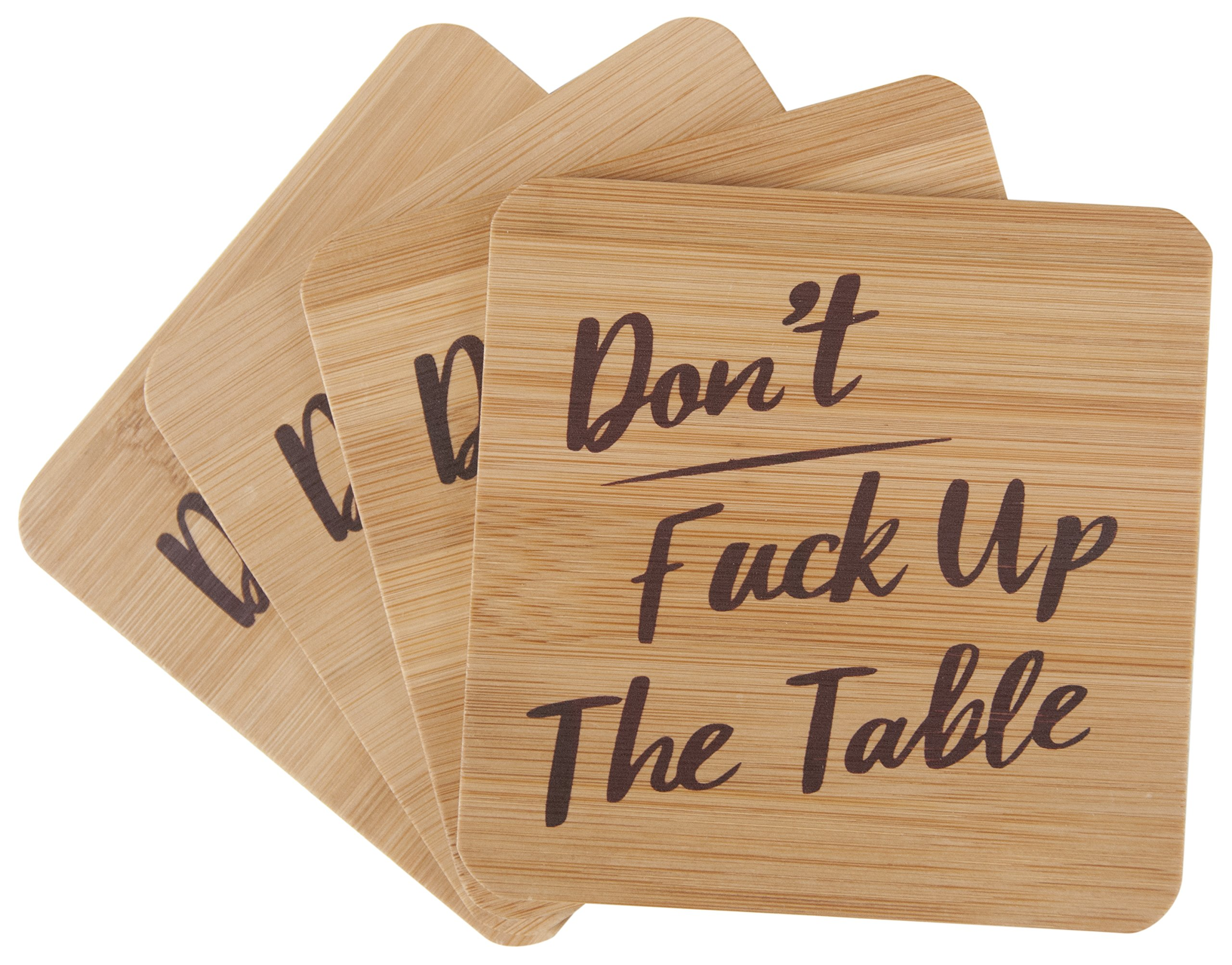Don't Fuck Up The Table Bamboo Drink Coasters | Set of 4 with Holder | Funny Housewarming Gift by Bonnejoy