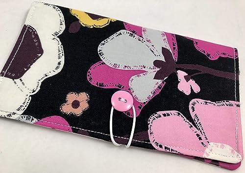 Herstory Floral Beige Duplicate Check Book Register Pen Holder Tan Duplicate Checkbook Cover Fabric Checkbook Cover