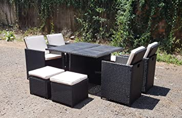 RATTAN WICKER CONSERVATORY OUTDOOR GARDEN FURNITURE WOODEN PATIO CUBE TABLE CHAIR SET (Black) & RATTAN WICKER CONSERVATORY OUTDOOR GARDEN FURNITURE WOODEN PATIO ...