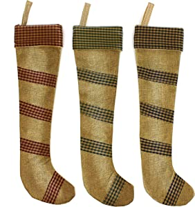 CVHOMEDECO. Rustic Vintage Design 18 Inch Christmas Tree Hanging Stockings Primitives Farmhouse Xmas Hanging Decoration Gifts, 3 Assorted