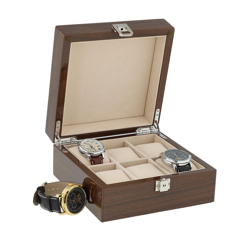 Lackiert Nussbaum Armbanduhr Sammler Box fÜr 6 Handgelenk Uhren von aevitas