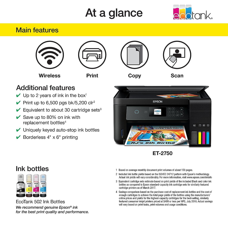 Epson ET-2750Refurb Wireless Color Photo Printer with Scanner /& Copier