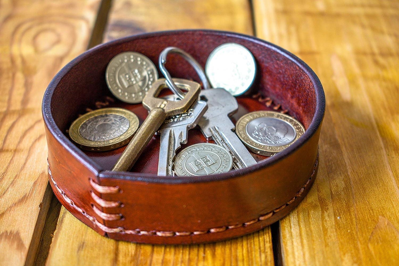 Round Valet Tray, jewelry tray, leather key tray, Desk vallet tray, Organiser tray, Leather organiser, catchall, coin tray, office tray