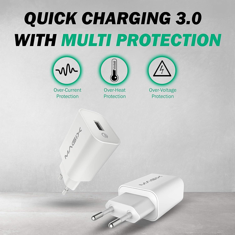 MAGIX Cargador de Pared USB Dual, 5V-2.4A + 5V-1.0A Blanco Enchufe EUR Salida m/áxima 5V-3.4A 17W Carga r/ápida