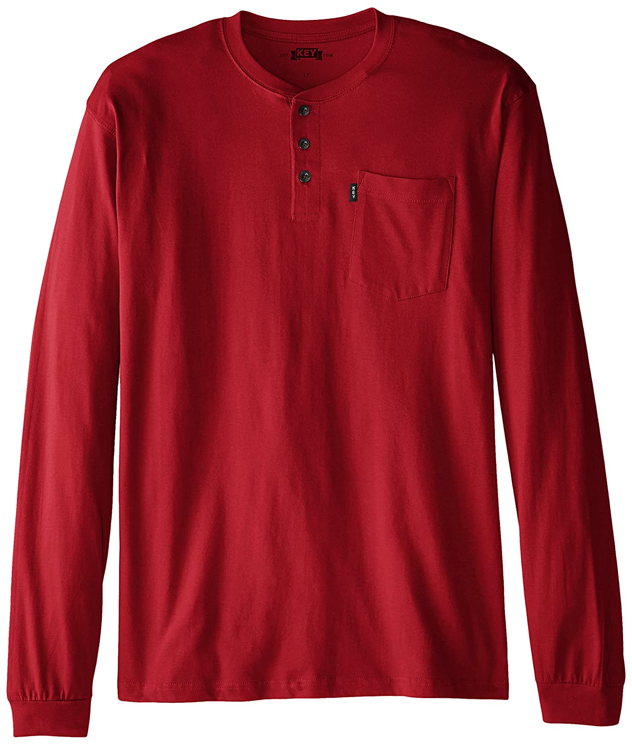 Key Apparel Men's Big & Tall 3-Button Long-Sleeve Henley Pocket T- Shirt 865B