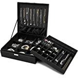 ProCase Jewelry Box Organizer for Women, Two Layer Jewelry Display Storage Case with 8 Necklace Hangers and Removable Partition for Earrings Bracelets Rings Watches -Black